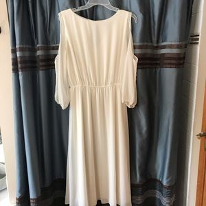 Beautiful, flowy cold shoulder white dress